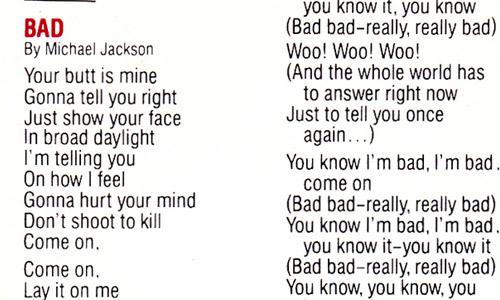 Bad (Original Release Booklet)